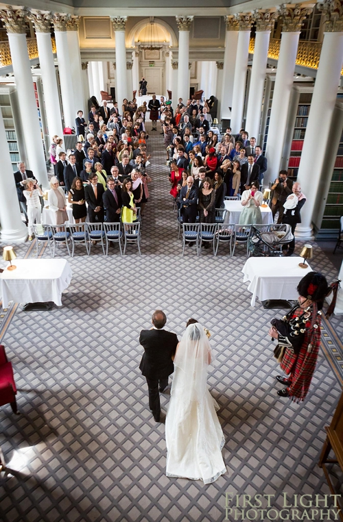 Wedding ceremony in Signet Library, lower library