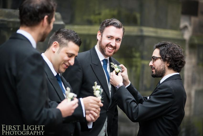 Wedding photography at Signet Library , Edinburgh by First Light photography, Scotland, Edinburgh wedding photographer, groomsmens, ushers, best man, groom, button holes, boutonniere