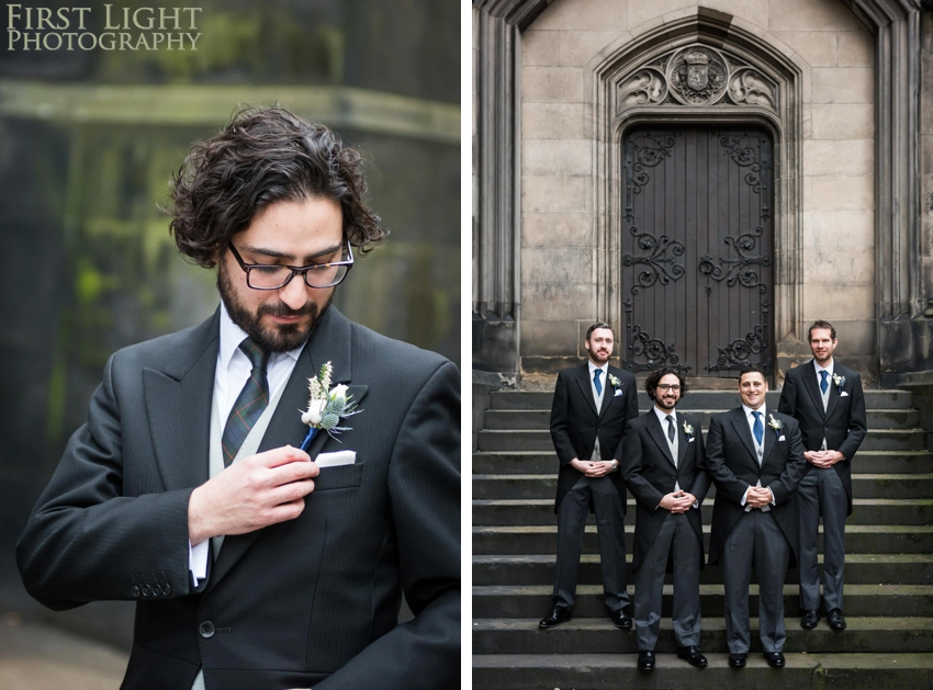 Wedding photography at Signet Library , Edinburgh by First Light photography, Scotland, button holes, boutonniere, wedding flowers, groomsmen, ushers, best man, groom, Edinbrurgh wedding photographer
