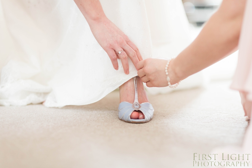 blue wedding shoes. Carberry Tower wedding photography