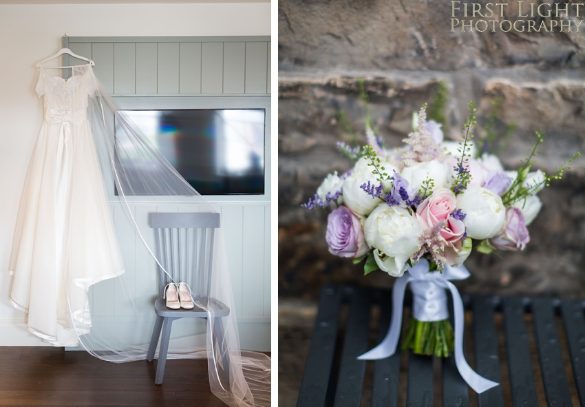 Wedding dress, wedding shoes, wedding flowers, Dundas Castle wedding photography. Edinburgh wedding photography by First Light Photography