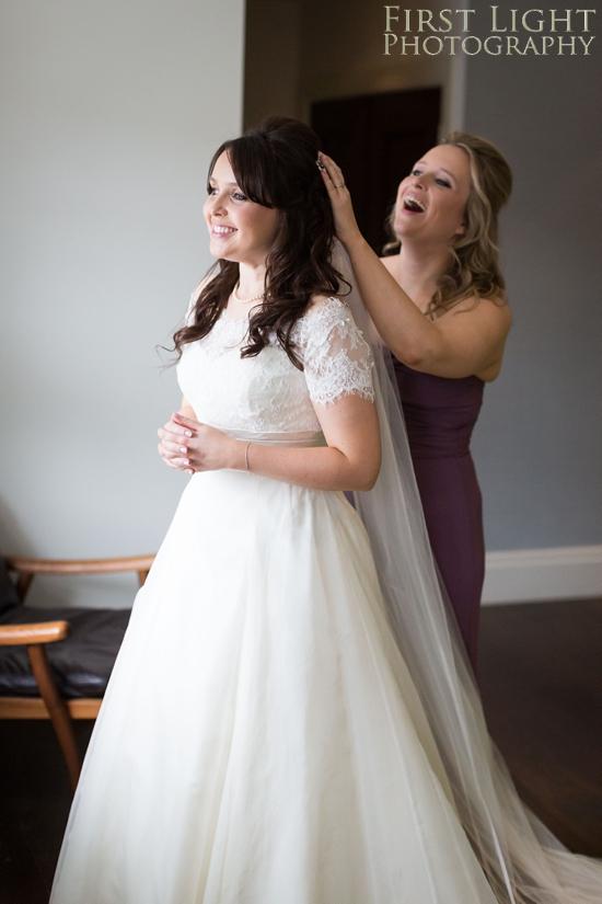 Wedding dress, wedding details, wedding hair, bridesmaid, Dundas Castle wedding photography. Edinburgh wedding photography by First Light Photography