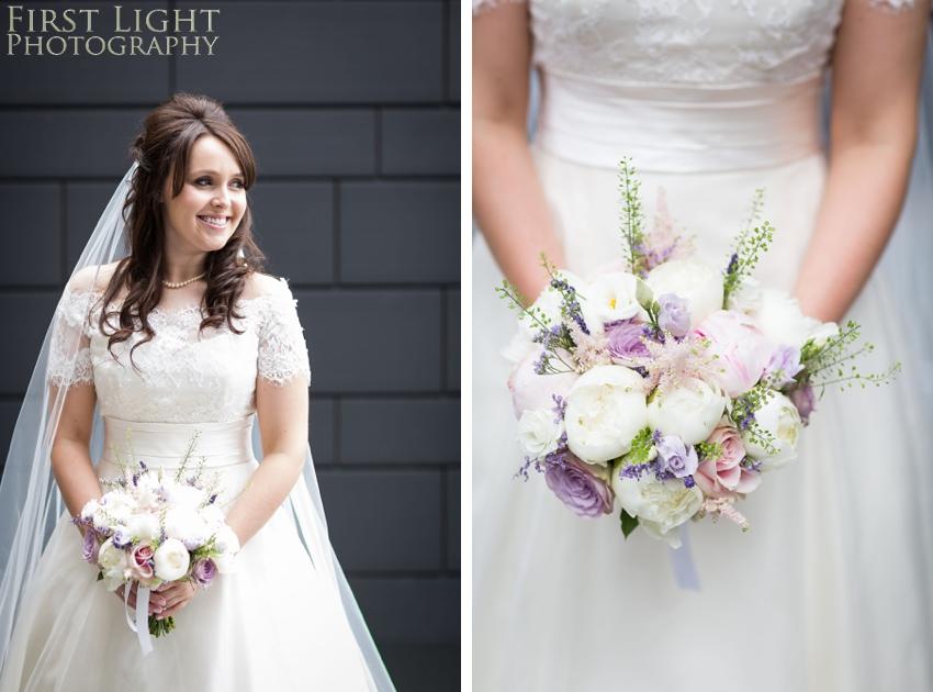 bride, wedding flowers, wedding dress, Dundas Castle wedding photography. Edinburgh wedding photography by First Light Photography