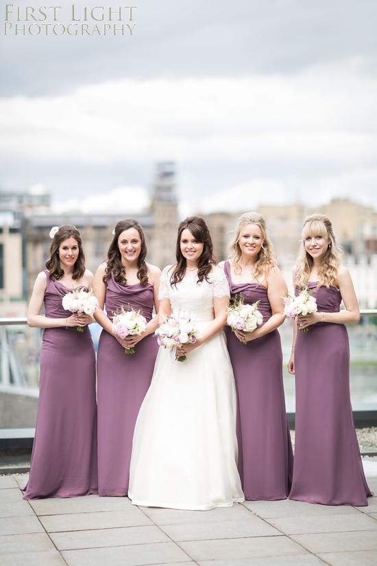 bridesmaids, wedding dress, bridesmaids dress, wedding flowers, bridesmaids flowers, Dundas Castle wedding photography. Edinburgh wedding photography by First Light Photography