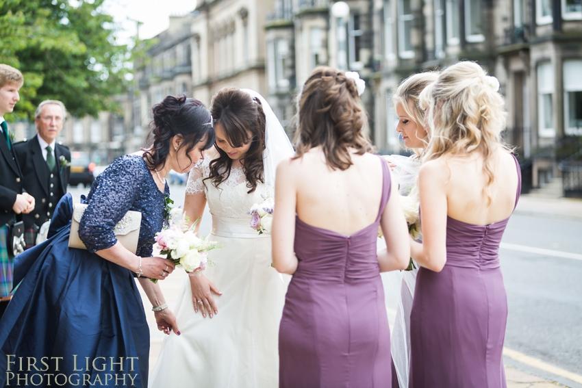 bridesmaids, bridesmaids dress, wedding dress, wedding details, Dundas Castle wedding photography. Edinburgh wedding photography by First Light Photography