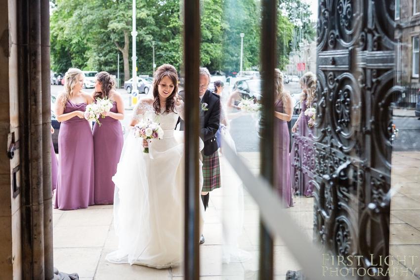 wedding dress, bridesmaids, Dundas Castle wedding photography. Edinburgh wedding photography by First Light Photography