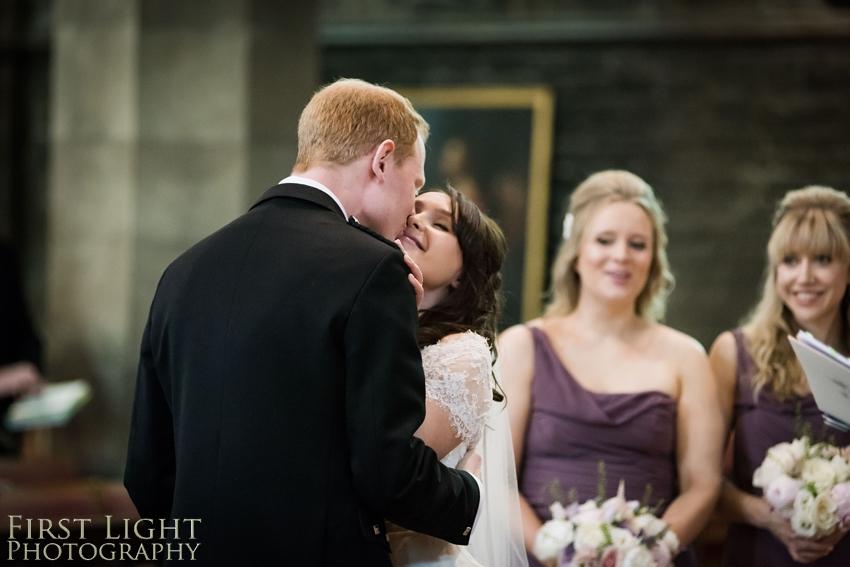 wedding kiss, Dundas Castle wedding photography. Edinburgh wedding photography by First Light Photography
