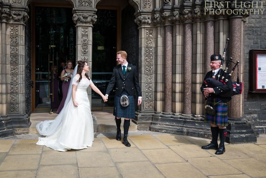 Wedding dress, wedding couple, Dundas Castle wedding photography. Edinburgh wedding photography by First Light Photography