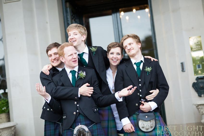 Ushers, groomsmen, best man, Dundas Castle wedding photography. Edinburgh wedding photography by First Light Photography