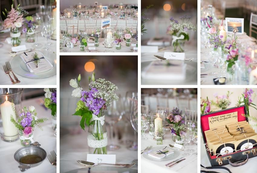 Wedding details, wedding flowers, wedding flowers table, Dundas Castle wedding photography. Edinburgh wedding photography by First Light Photography