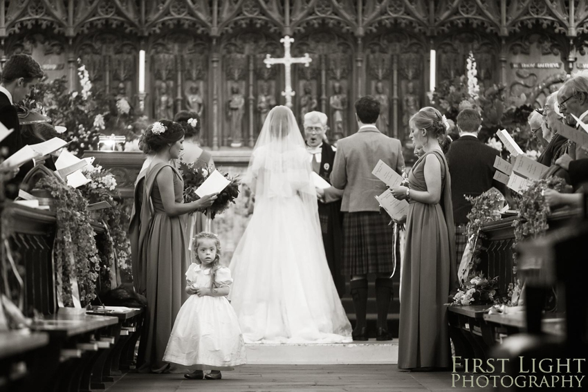 Wedding in church, bridesmaid, wedding dress