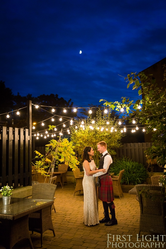 Nighttime portrait, wedding photographer Scotland