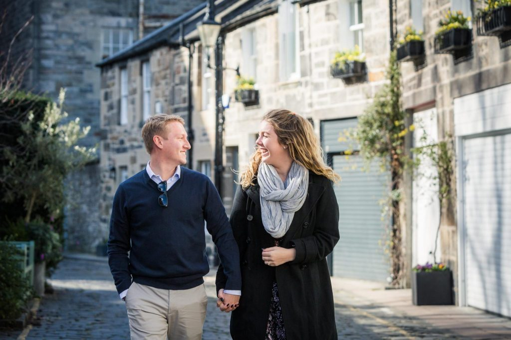 Wedding Proposal photography in Circus Lane, Edinburgh