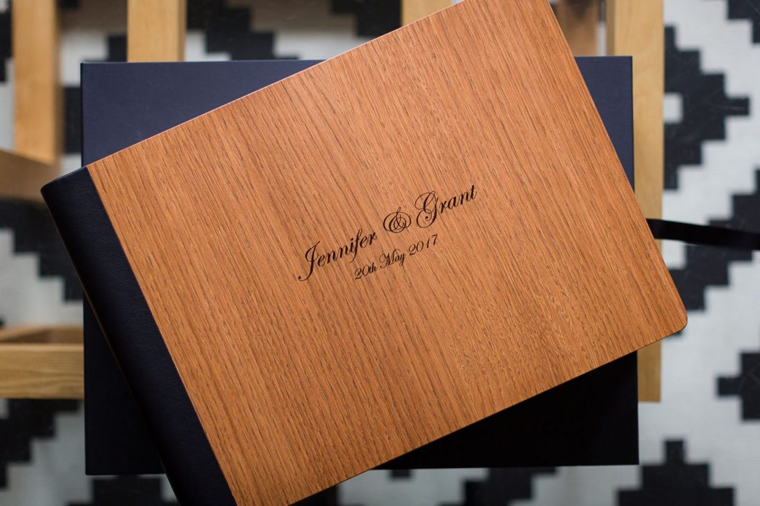 First Light wedding album cover option: natural oak and leather